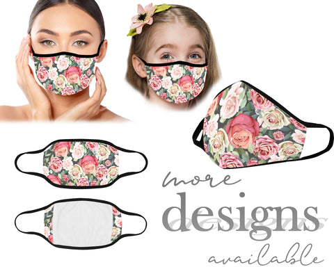 Floral Face Mask, Protective Mouth Mask, Reusable Mask, Washable Mask, Dust Mask, Kids and Adult Face Mask With Filter Pocket