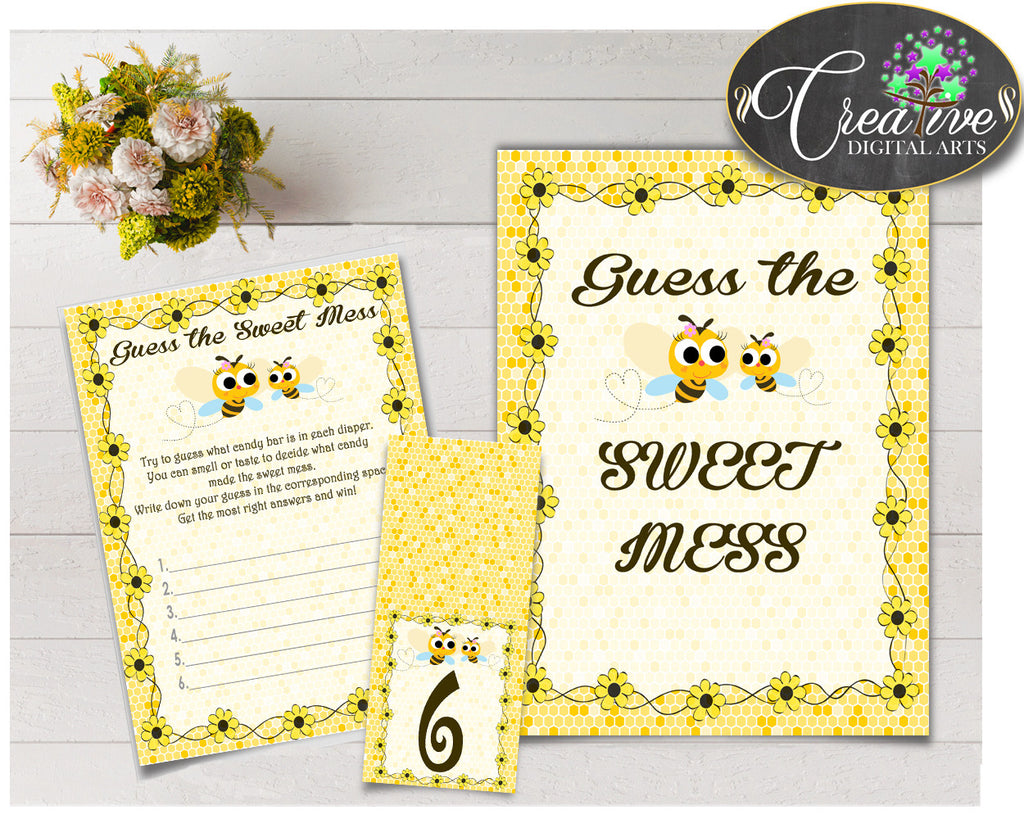 Baby shower GUESS the SWEET MESS game cards, tents and sign with yellow bees, instant download - bee01