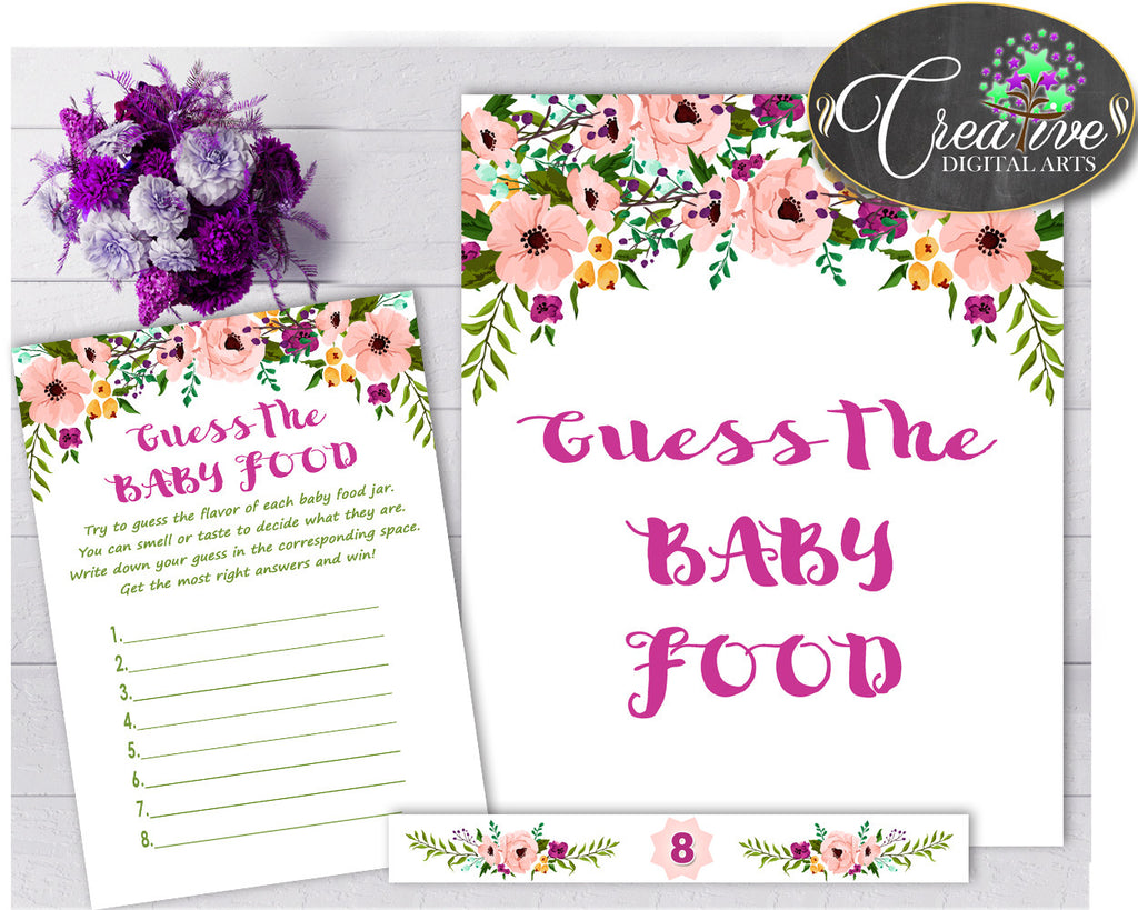 GUESS The BABY FOOD watercolor flowers game for baby girl shower in floral pink theme printable, digital, Jpg Pdf, instant download - flp01