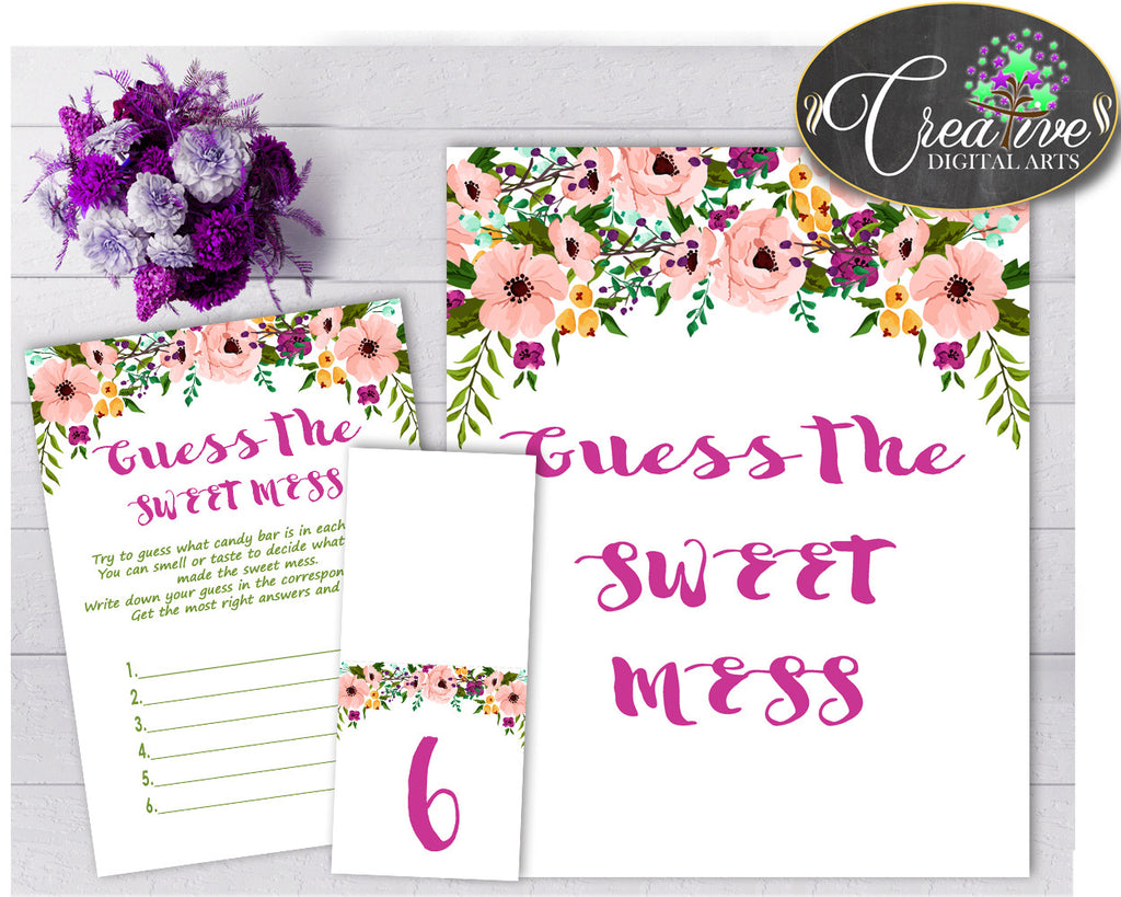 Baby shower girl watercolor flowers GUESS the SWEET MESS game cards tents and sign floral pink theme, Jpg Pdf, instant download - flp01
