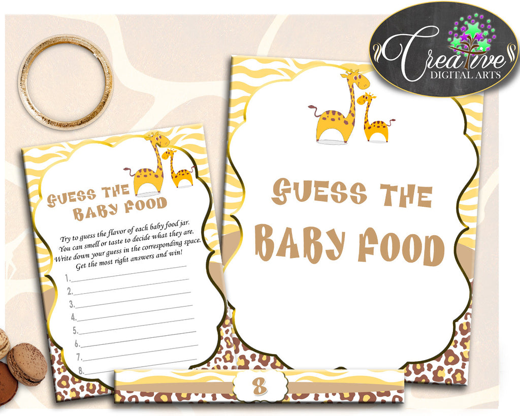 GUESS The BABY FOOD giraffe baby shower game boy or girl brown yellow theme printable, digital files, Jpg Pdf, instant download - sa001