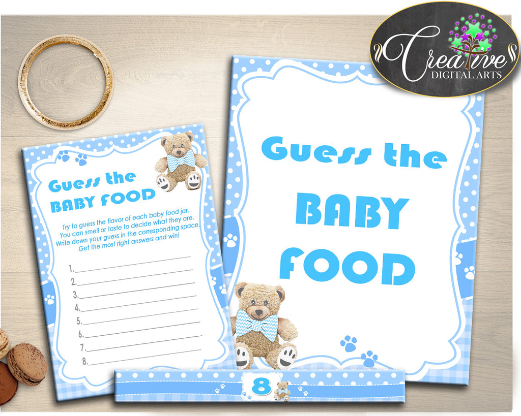 GUESS The BABY FOOD game for teddy bear baby shower, boy baby shower printable, blue baby shower, digital, jpg pdf, instant download - tb001