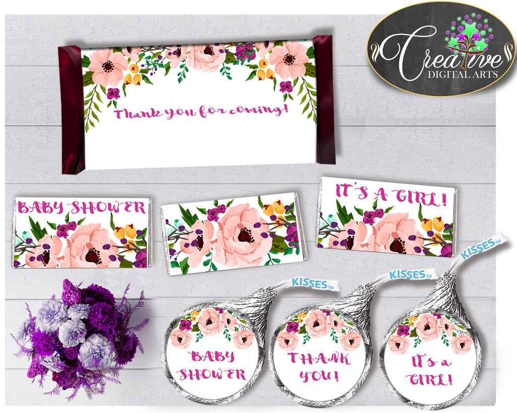 Baby shower Floral CANDY BAR decoration wrappers and labels printable watercolor flowers pink theme girls, Jpg Pdf, instant download - flp01