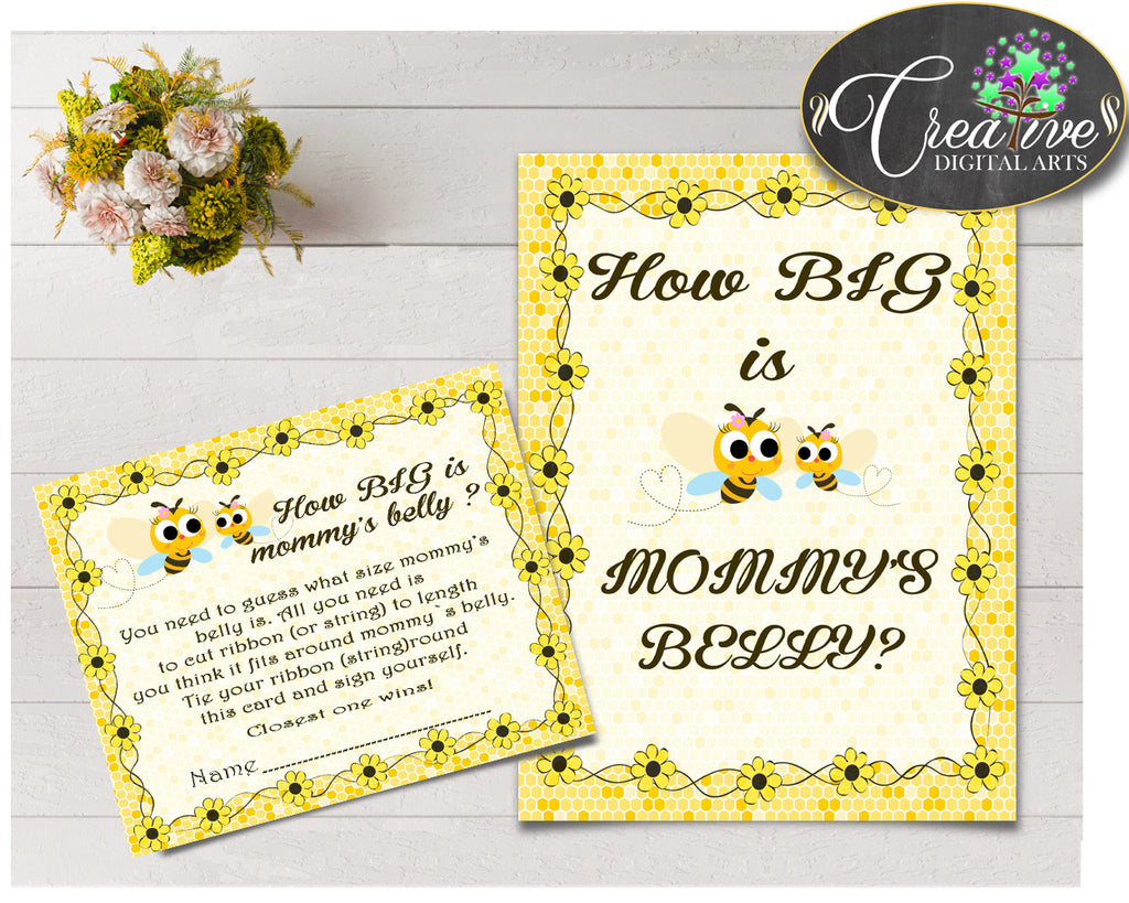 How Big Is MOMMY'S BELLY baby shower game with yellow bee printable, digital files Jpg Pdf, instant download - bee01