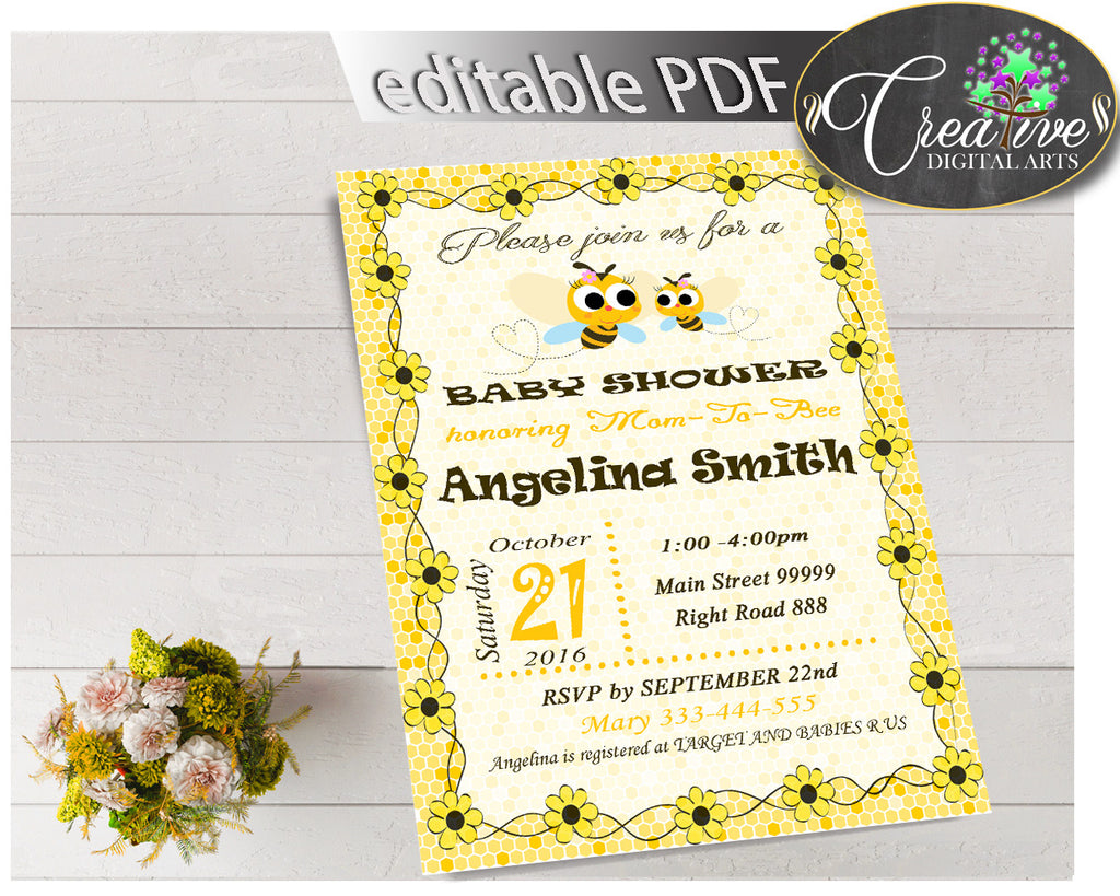 Baby Shower INVITATION editable with yellow bee, instant download - bee01