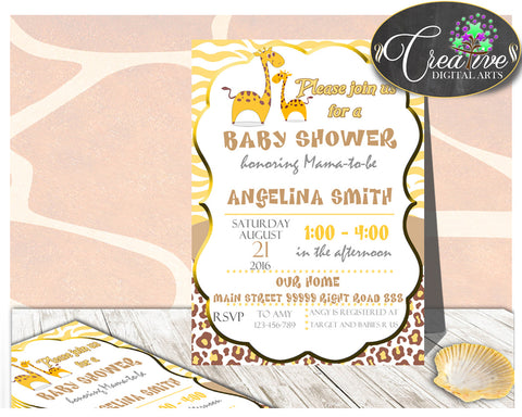 Giraffe INVITATION editable baby shower boy or girl, gender neutral printable, digital files, editable giraffe, instant download - sa001