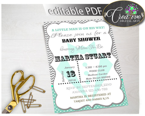 Baby Shower Little Man INVITATION editable boy gentleman printable in mint green gray color theme, digital files, instant download - lm001