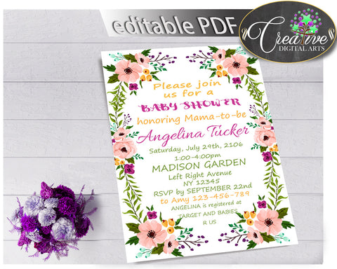 Baby Shower Girl Flowers INVITATION editable Pdf with floral pink green purple theme and digital Jpg included, instant download - flp01