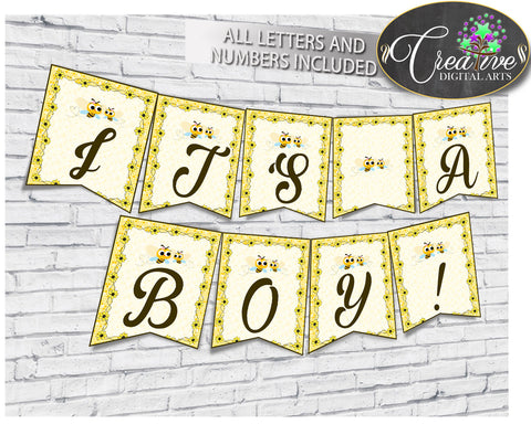 Baby shower BANNER decoration printable with yellow bee, all letters, digital files, instant download - bee01