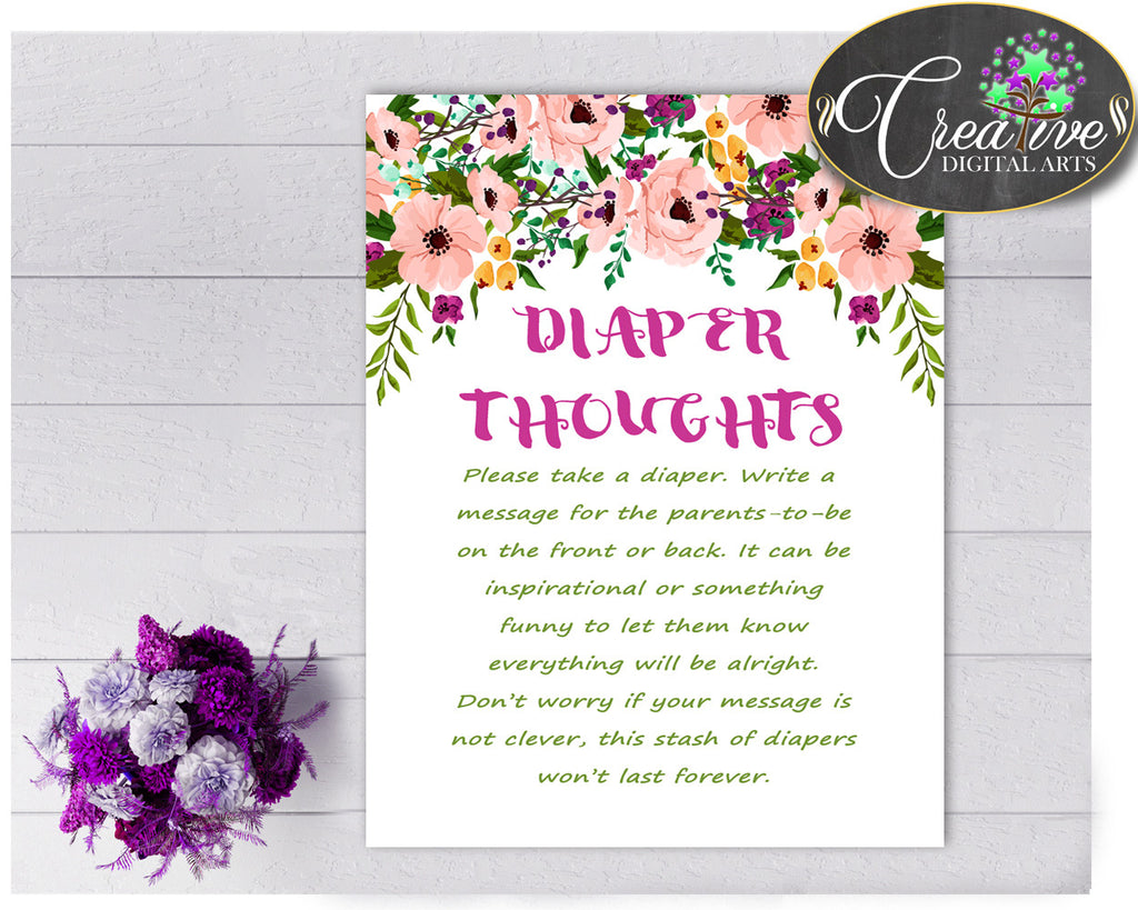 Floral Baby shower girl DIAPER THOUGHTS game watercolor flowers pink green theme printable, digital file Jpg Pdf, instant download - flp01