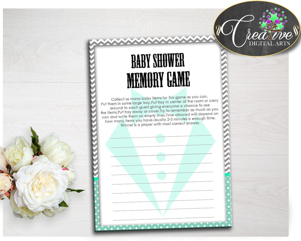 Little Man Baby Shower boy MEMORY game gentleman suit mint green and chevron gray printable, digital file, instant download - lm001