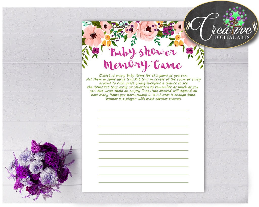 Floral Baby Shower Girl MEMORY game watercolor flowers pink green shower theme printable, digital file Jpg Pdf, instant download - flp01