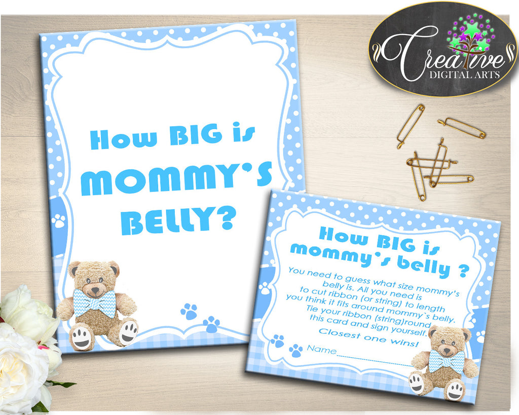 How Big Is MOMMY'S BELLY game, boy baby shower printables, teddy bear baby shower game, digital file Jpg Pdf, instant download - tb001