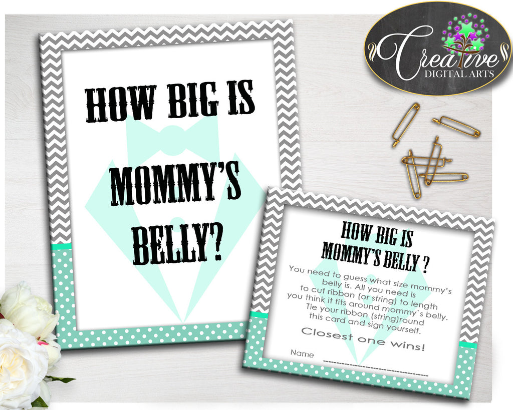Baby Gentleman How Big Is MOMMY'S BELLY little man boy shower game mint green printable, digital files Jpg Pdf, instant download - lm001