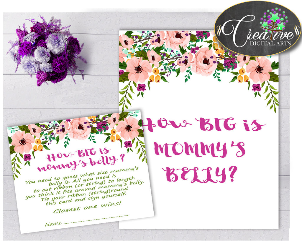 How Big Is MOMMY'S BELLY Floral baby girl shower game with watercolor flowers pink green theme printable, Jpg Pdf, instant download - flp01