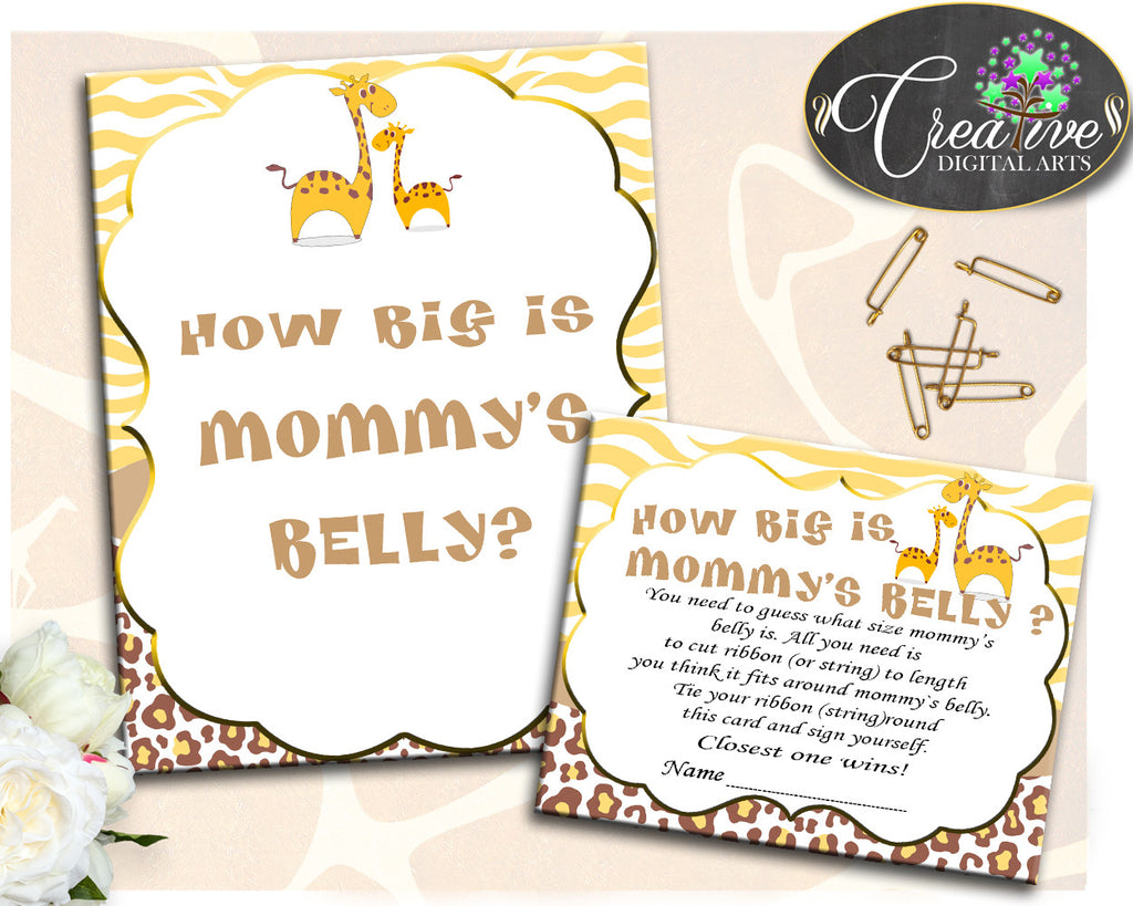 Giraffe Baby Shower How Big Is MOMMY'S BELLY game boy girl printable, brown yellow theme, digital files Jpg Pdf, instant download - sa001