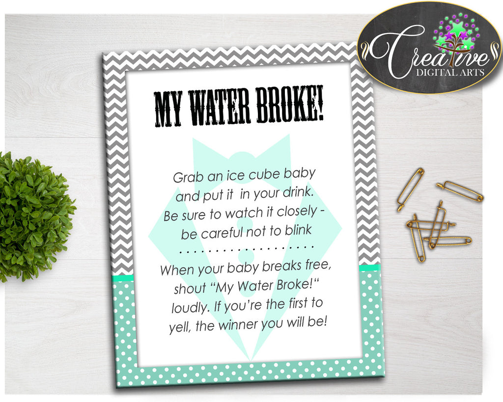 Little Man Boy Shower MY WATER BROKE gentleman game with mint green gray theme, Digital Files Jpg Pdf, instant download - lm001