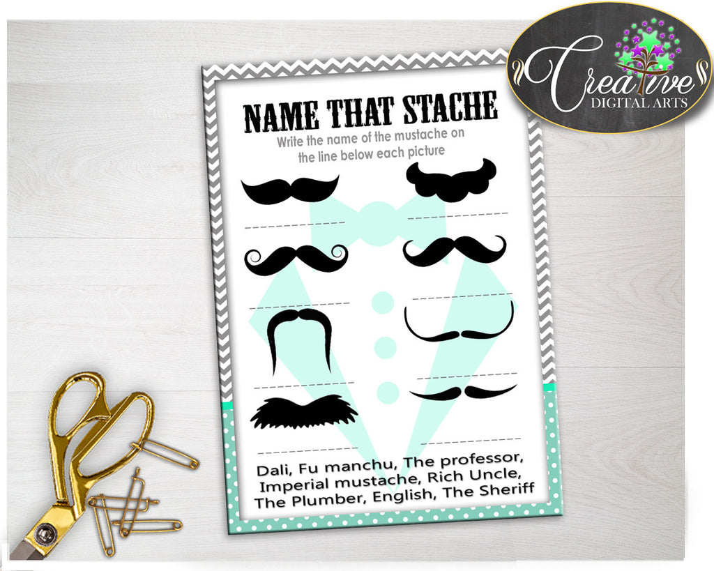 Baby Shower NAME THAT STACHE little man game chevron gray and mint green theme printable, digital file, Jpg Pdf, instant download - lm001