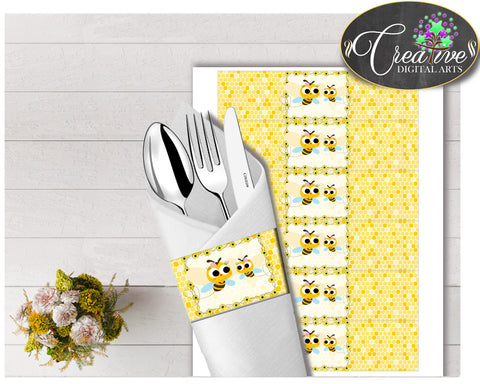 Baby shower NAPKIN RINGS printable with yellow bee, digital file, instant download - bee01