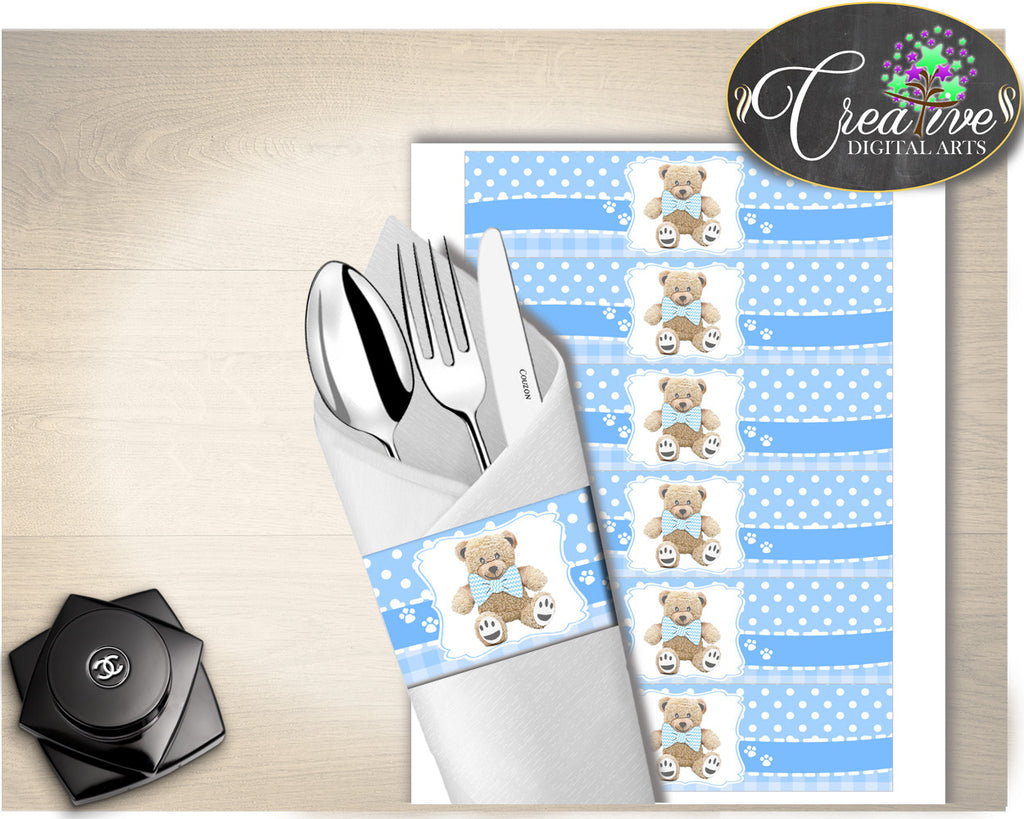 Blue Baby shower NAPKIN RINGS printable, teddy bear napkin rings, teddy bear baby shower, digital file, Jpg Pdf, instant download - tb001