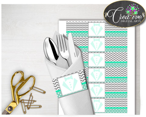Baby shower little man NAPKIN RINGS printable gentleman mint green and chevron gray theme, digital file, Jpg Pdf, instant download - lm001