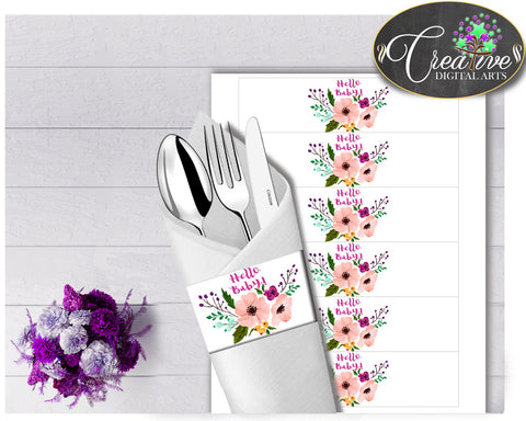 Baby shower girl Floral NAPKIN RINGS printable watercolor flowers pink green purple theme, digital file Jpg Pdf, instant download - flp01