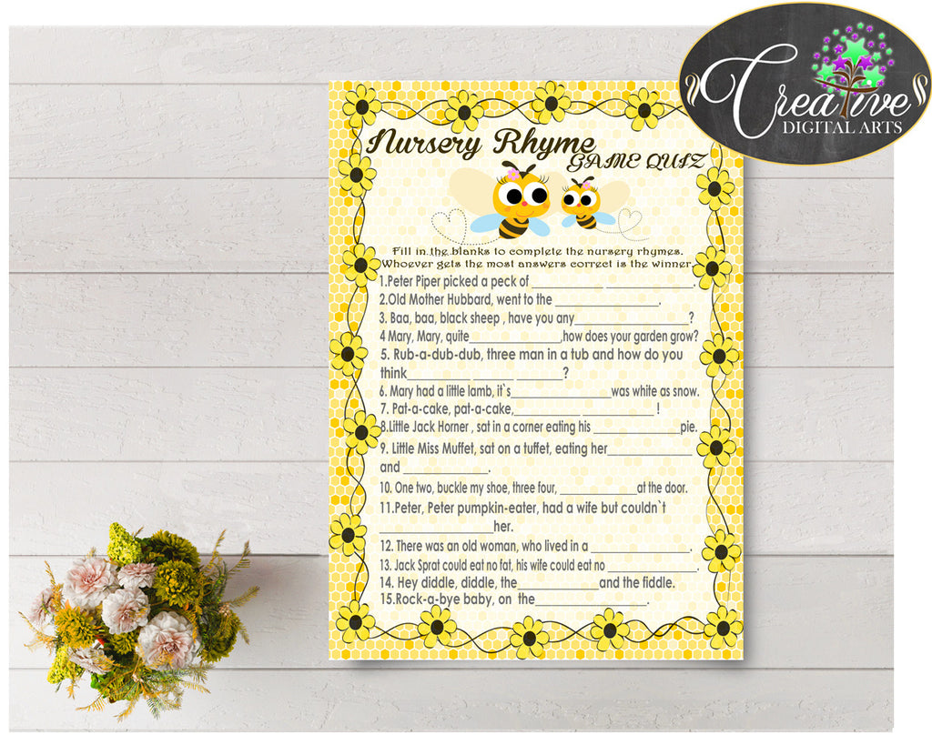 Baby Shower NURSERY RHYME QUIZ game with yellow bee printable, digital files, instant download - bee01