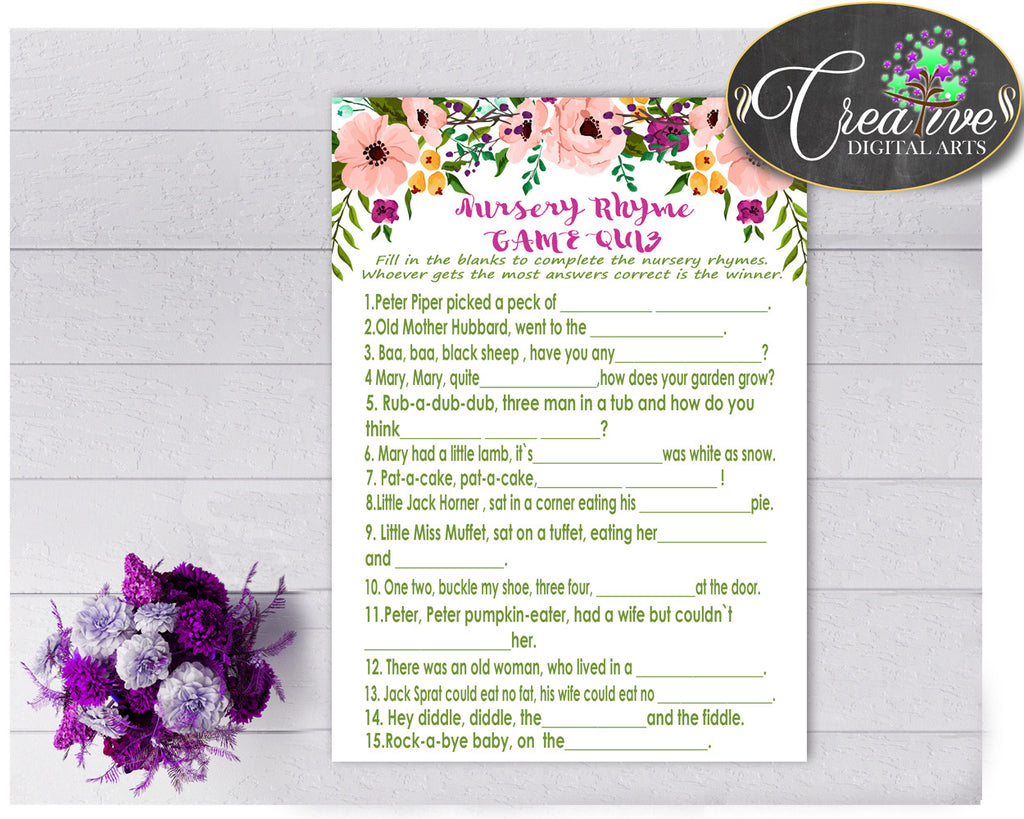 Floral Baby Shower Girl NURSERY RHYME QUIZ game watercolor flowers pink theme printable, digital files Jpg Pdf, instant download - flp01