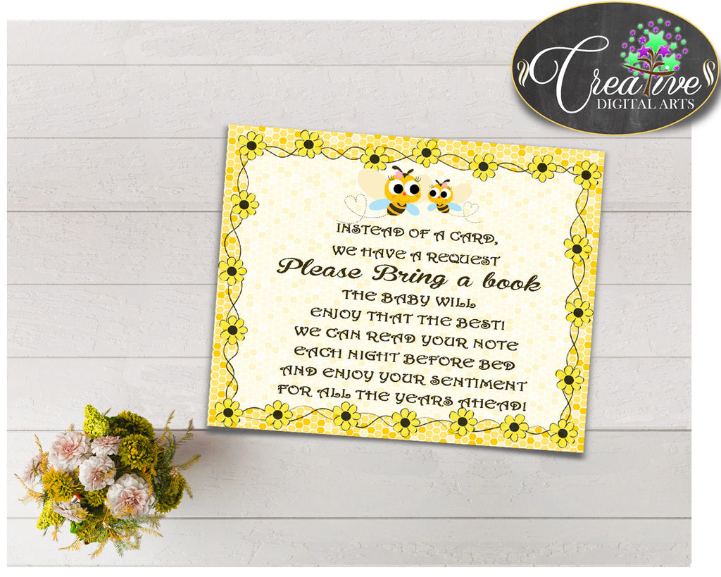 Baby shower BRING A BOOK insert cards printable for baby shower with yellow bees, instant download - bee01