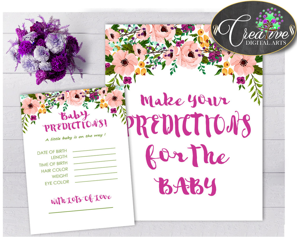 Flowers PREDICTIONS FOR BABY sign and cards activity printable for girl shower floral pink theme, Jpg Pdf, instant download - flp01