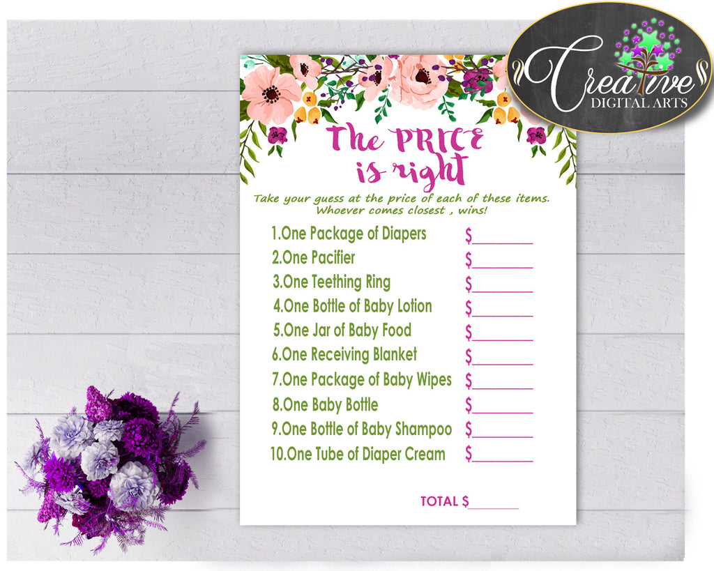 Baby Shower girl watercolor flowers The PRICE IS RIGHT game in floral pink theme printable, digital files Jpg Pdf, instant download - flp01