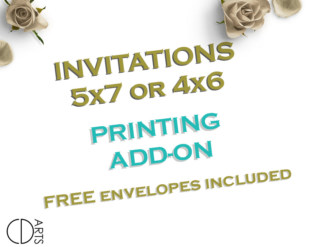 "Professionally printed invitations with white envelopes and free shipping - Add On listing for printed 5x7"" or 4x6"" invitations"
