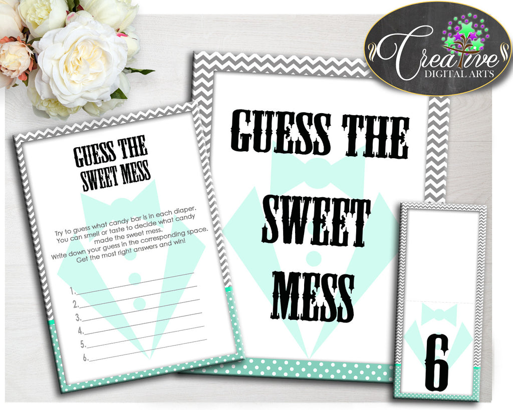 Baby shower little man GUESS the SWEET MESS game gentleman mint green and gray chevron theme printable, jpg pdf, instant download - lm001
