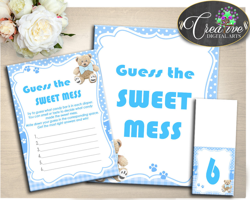 Blue Baby Shower GUESS the SWEET MESS, teddy bear baby shower, boy baby shower game printable, digital jpg pdf, instant download - tb001