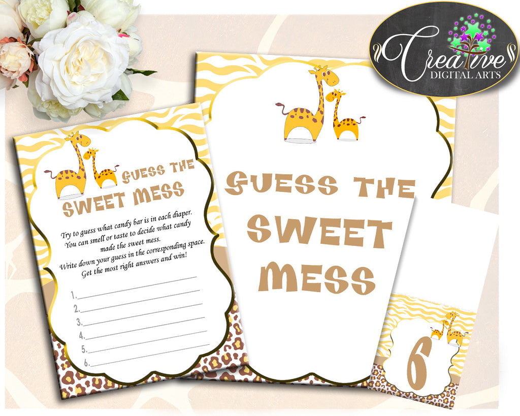 Giraffe Baby Shower Boy or Girl GUESS the SWEET MESS game cards tents and sign, brown yellow theme print, jpg pdf, instant download - sa001