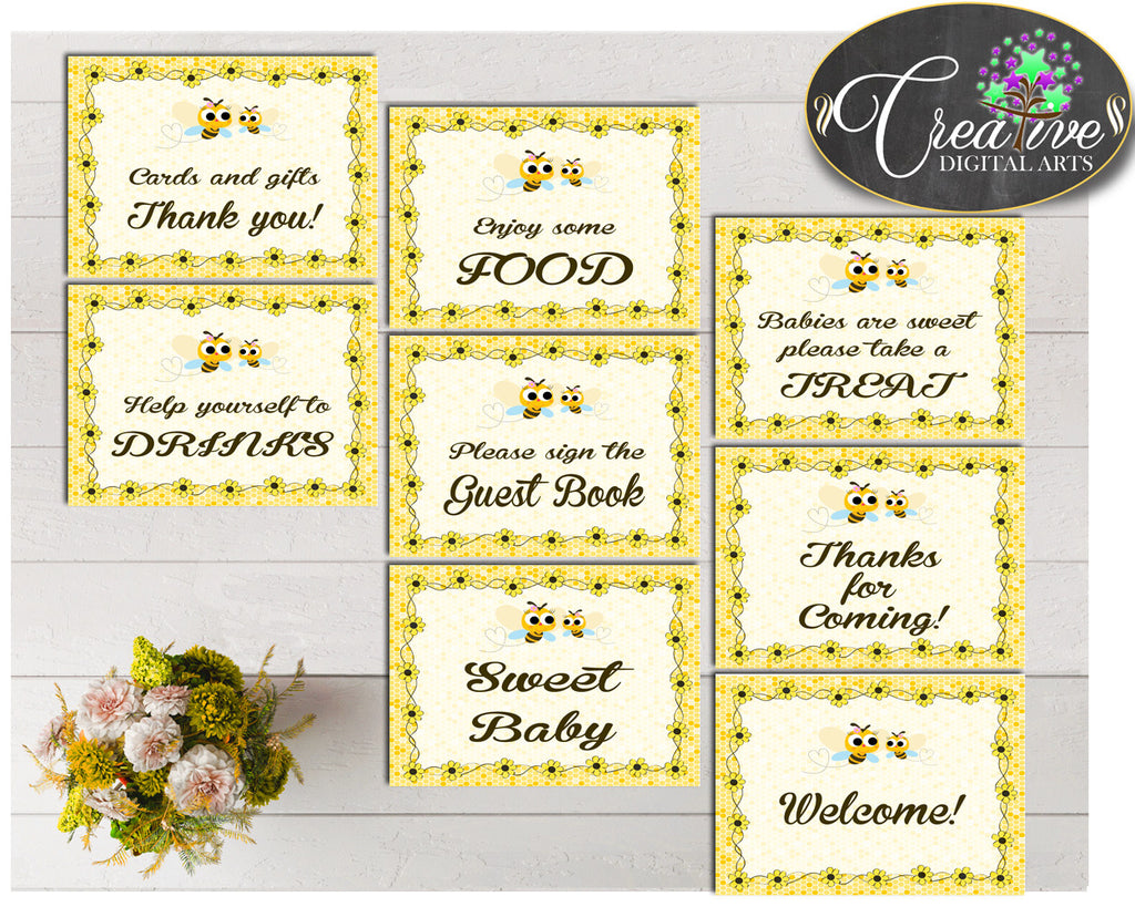 Baby shower TABLE SIGNS decoration printable with yellow bee, instant download - bee01