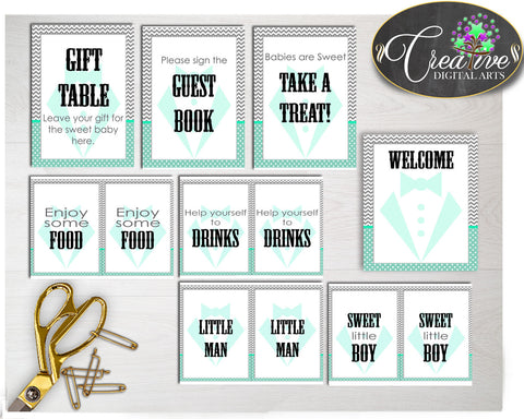 Baby shower little man TABLE SIGNS decoration gentleman printable in mint green gray color theme, digital files, instant download - lm001