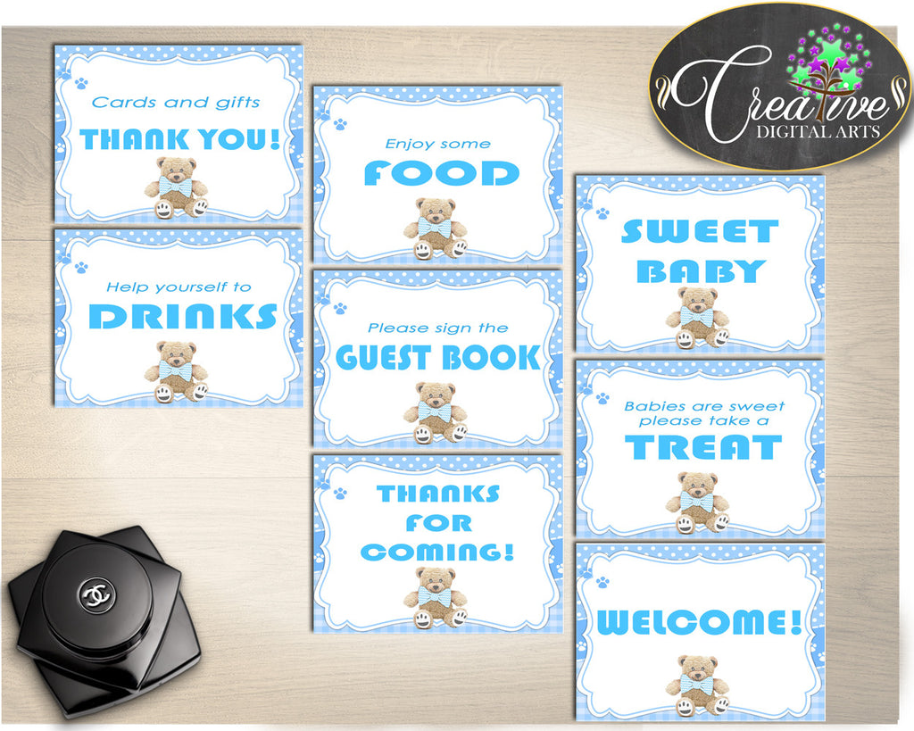 Teddy Bear Baby Shower TABLE SIGNS printable package, boy baby shower blue, printable, digital files, Jpg Pdf, instant download - tb001