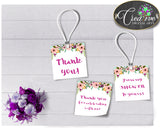 Floral Baby shower THANK YOU favor tags square printable watercolor flowers pink theme, digital Jpg Pdf, instant download - flp01