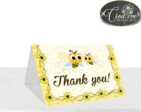 Baby shower THANK YOU card printable with yellow bee for boys and girls, instant download - bee01