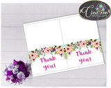 Watercolor Flowers Baby shower girl THANK YOU card party printable floral green pink theme, digital jpg pdf, instant download - flp01