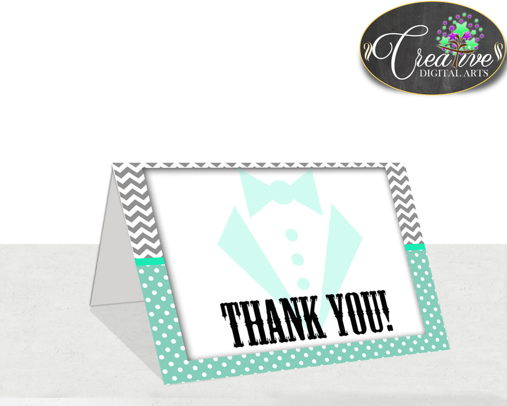 Little Man Thank You Card Boy Mint Green Gray Color Baby Shower