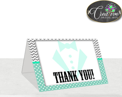 Little Man THANK YOU card boy mint green gray color baby shower gentleman theme printable, digital files jpg pdf, instant download - lm001