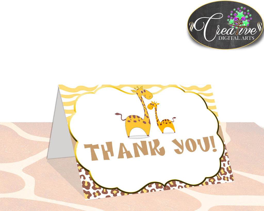 Giraffe THANK YOU card, baby shower boy or girl theme printable, brown yellow thank you, digital files, jpg pdf, instant download - sa001