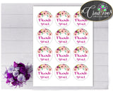Baby shower Flowers THANK YOU round tag or sticker printable in floral pink green theme, digital files, Pdf Jpg, instant download - flp01
