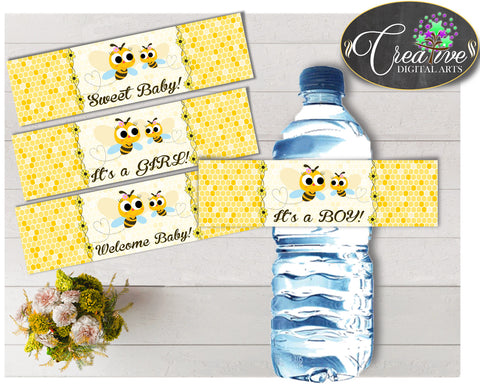 Baby shower WATER BOTTLE LABELS printable with yellow bee, digital files, Pdf, Jpg, instant download - bee01