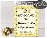 Baby Shower WELCOME sign editable with yellow bees, printable, digital files, pdf jpg, instant download - bee01