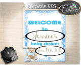 Baby Shower WELCOME sign editable printable, teddy bear Welcome sign, blue baby shower welcome, digital pdf, instant download - tb001