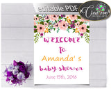 Floral Baby Girl Shower WELCOME sign editable watercolor flowers pink green purple theme printable, digital files, instant download - flp01