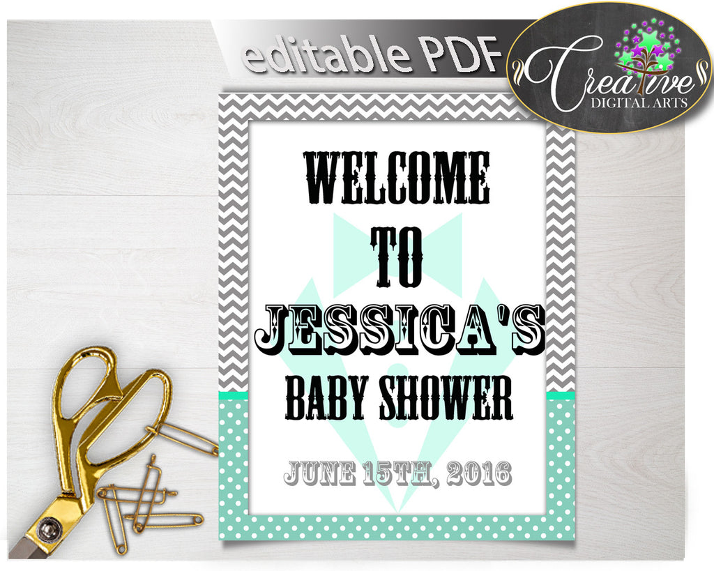 Editable WELCOME baby shower sign little man gentleman mint green suit and gray chevron printable, digital files, instant download - lm001